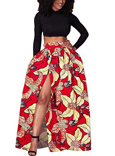 a08e6ca64 Lovezesent Women's African Floral Printed High Split Maxi Skirt A Line Dress