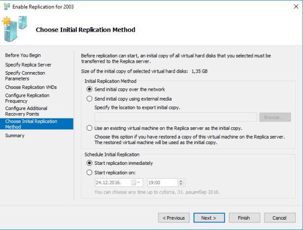 VM Replication Initial Method