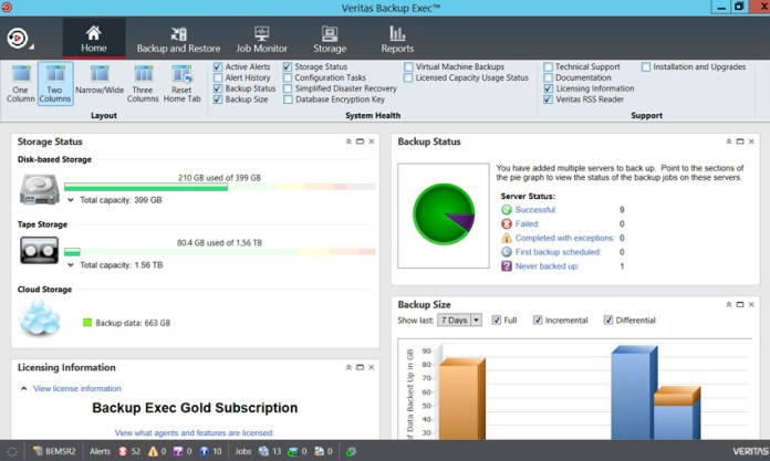 Veritas Backup Exec Dashboard