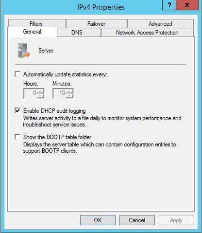 Enable DHCP Log