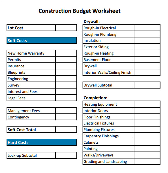 19+ Free House Building Budget Templates - MS Office Documents