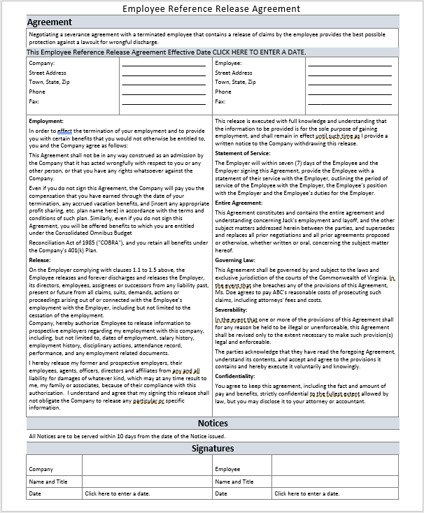Release Agreement | 17 Free Employee Reference Release Agreement Templates