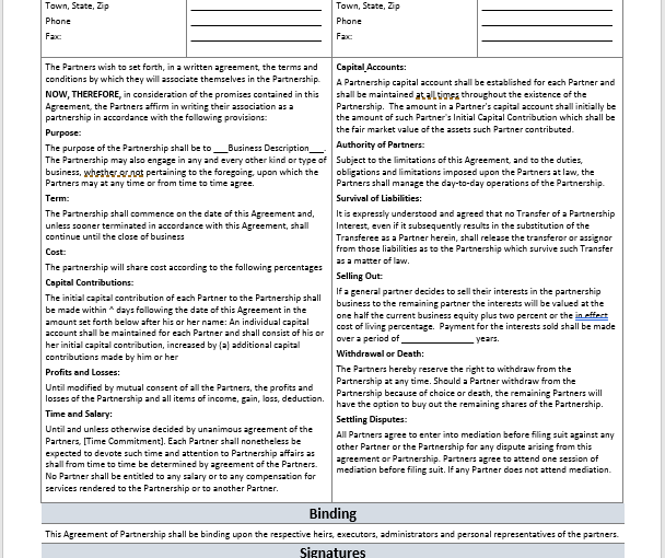 Partnership Agreement Format Archives - MS Office Documents