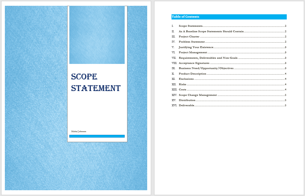 Free Scope Statement Template (19 Templates) - MS Office Documents
