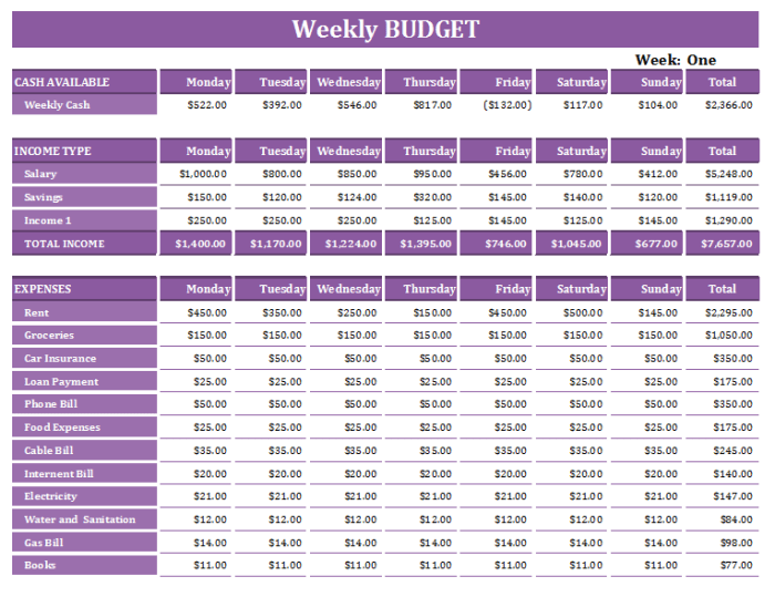 16 Free Weekly Budget Templates Ms Office Documents