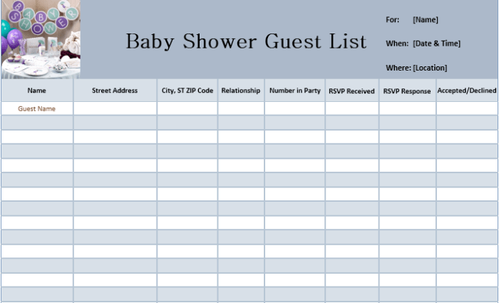 Download All These Free Baby Shower Guest List Templates That Can Easily Help You To Prepare Your Own Effectively