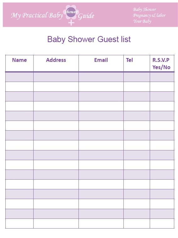 photograph regarding Printable Guest List Template titled 17+ Absolutely free Little one Shower Visitor Checklist Templates - MS Place of work Information