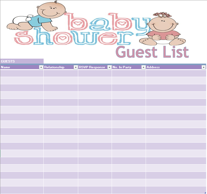 17 Free Baby Shower Guest List Templates Ms Office Documents