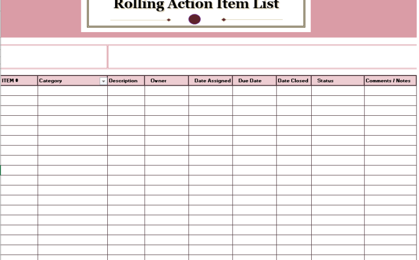 Rolling Action Item List Template