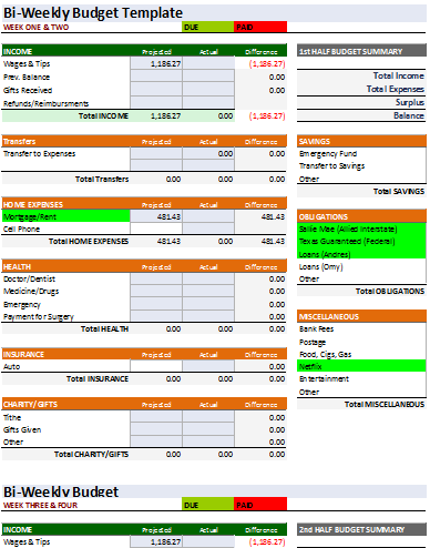 23 free bi weekly budget templates ms office documents