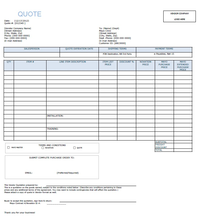 Free Computer Purchase Quotation Template  Templates  Ms Office
