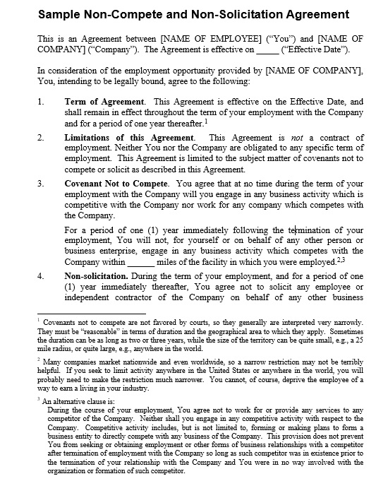 19+ Free Employee Non-Compete Agreement Templates