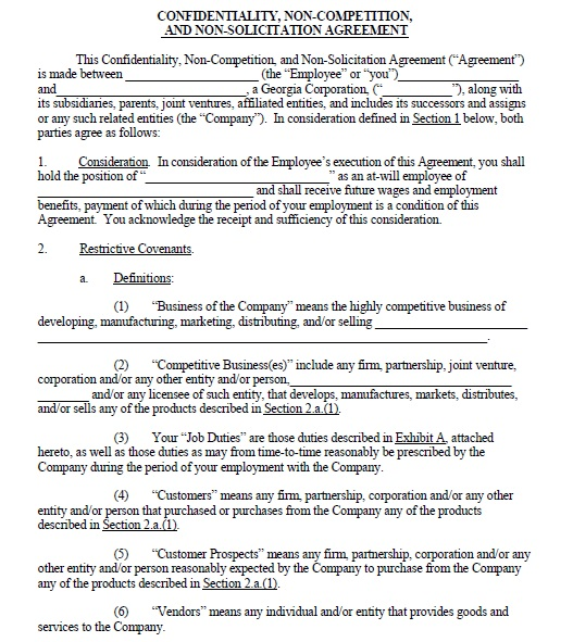 19 free employee non compete agreement templates share this accmission Gallery