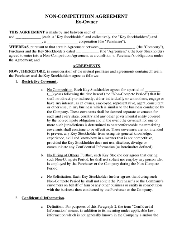Employee Non Compete Agreement Template 18 Ms Office Documents
