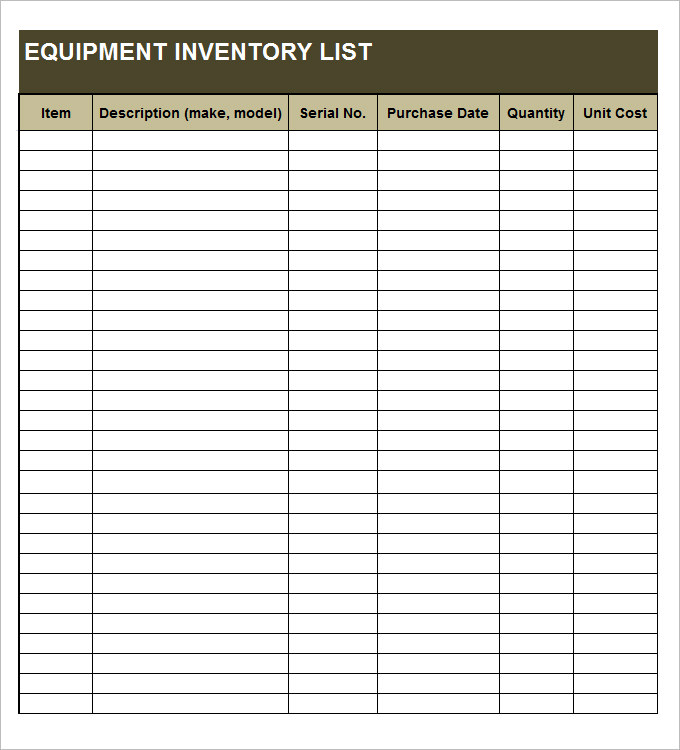 20+ Free Equipment Inventory List Templates - MS Office ...