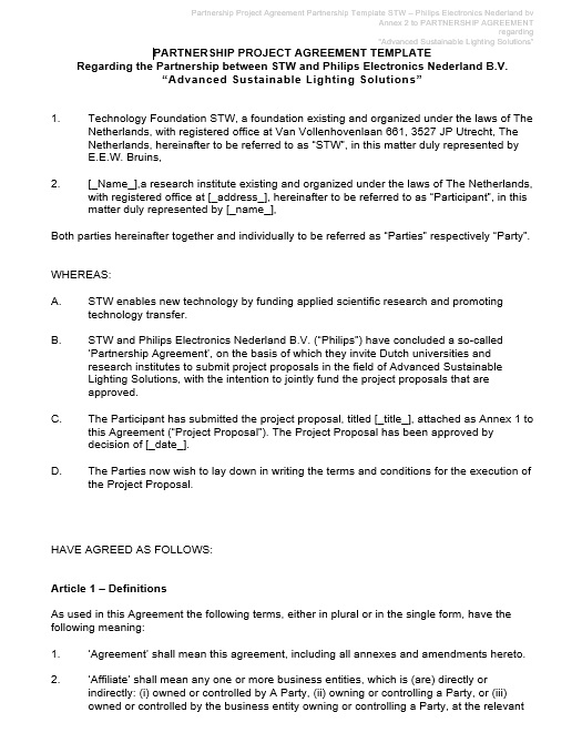 Free Partnership Agreement Template  Templates  Ms Office Documents