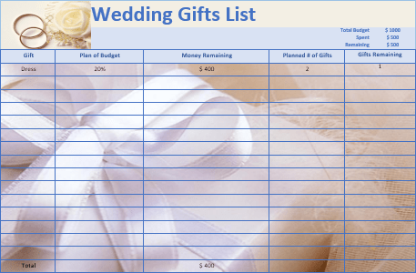 18 Free Wedding Gift List Templates Ms Office Documents