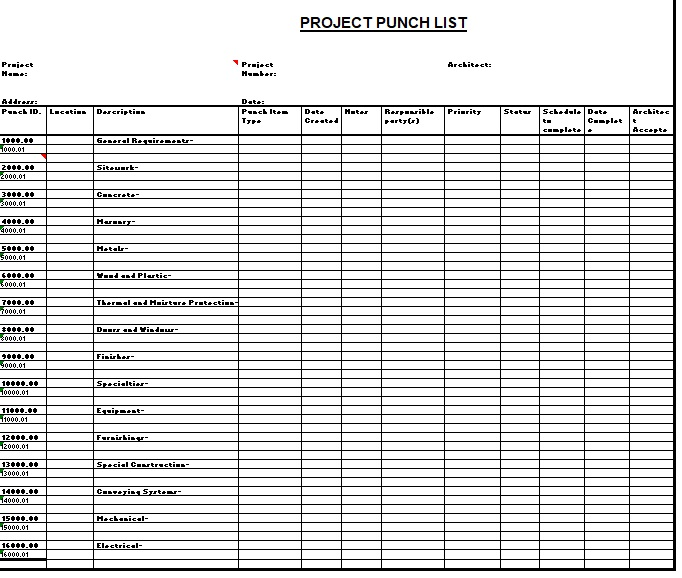 Free Construction Punch List Template  Templates  Ms Office