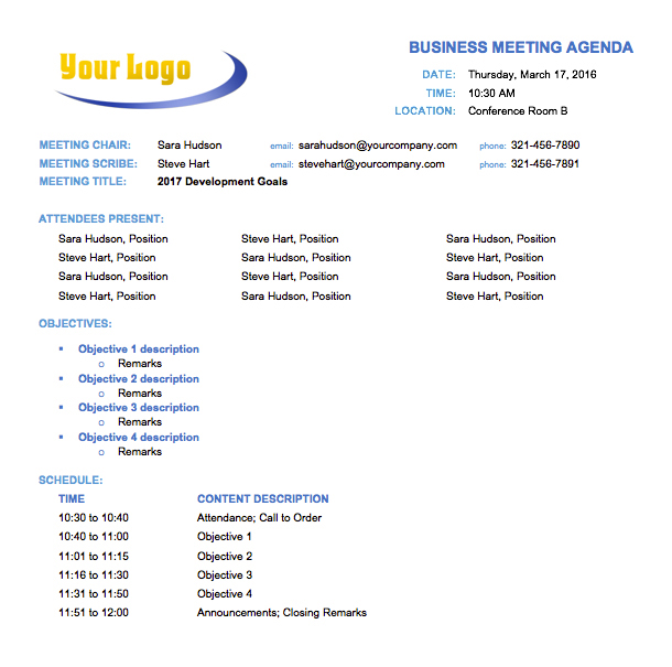 17+ Free Team Meeting Agenda Templates - MS Office Documents