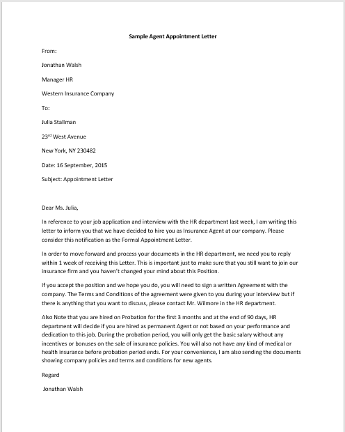 11 free sample appointment letters