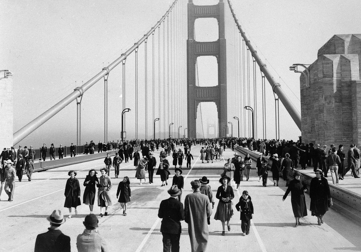 Image result for golden gate bridge opening day 1937