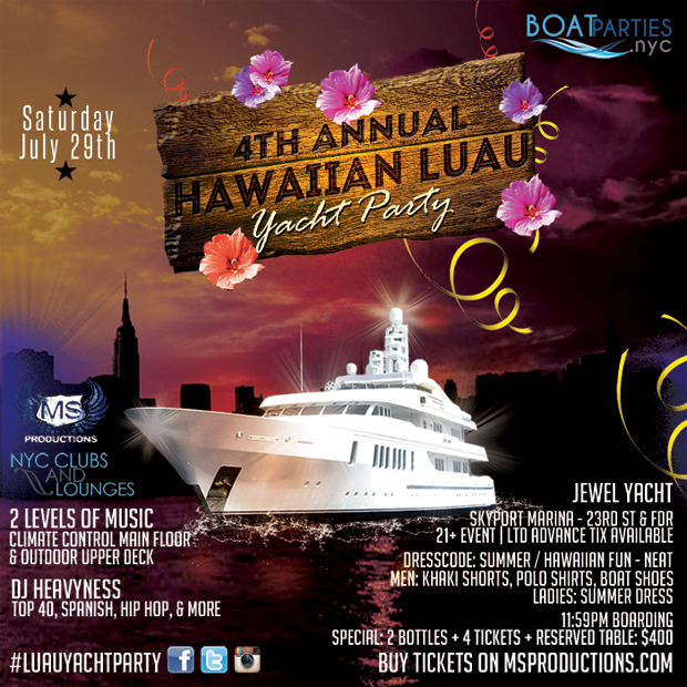 4th Annual Hawaiian Luau Yacht party