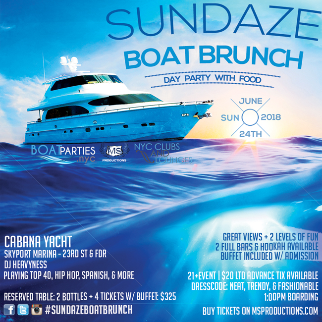 Sundaze Boat Brunch, NYC Day Party with food