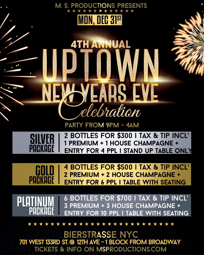 Biertrasse NYC New Years Eve party bottle table Packages and specials