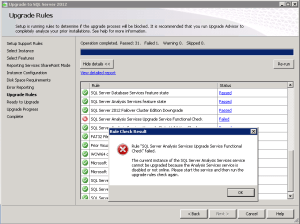 SQL Server 2012 Upgrade Rules Error related to Analysis Services