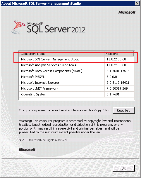 SQL Server 2012 SSMS About Dailog Box