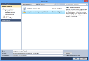 Integration Services Project Wizard