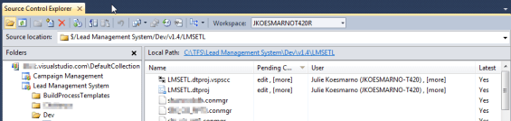 Pending Changes on Visual Studio 2010