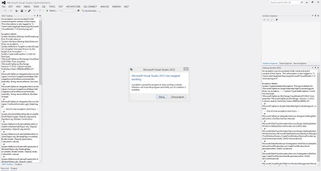 VS2012 Crashed At StartUp