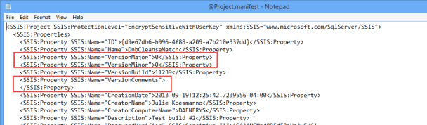 SSIS - Project Manifest