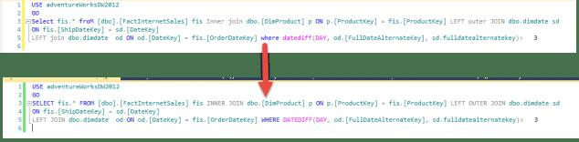 SQL Prompt - Uppercase Keywords - Before vs After