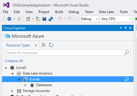 Cloud Explorer in VS 2015 with ADLA