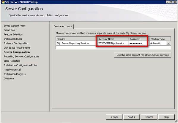 SQL Server 2008 R2 Service Account Configuration