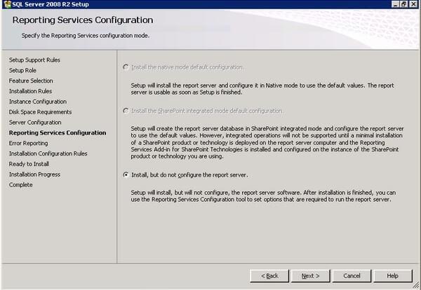 SQL Server 2008 R2 Setup Reporting Services Configuration