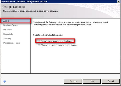 SQL Server 2008 R2 Reporting Services Create a new report server database