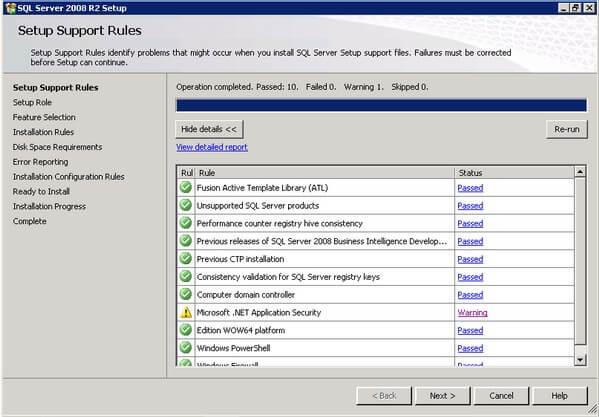 SQL Server 2008 R2 Setup Support Rules Confirmation