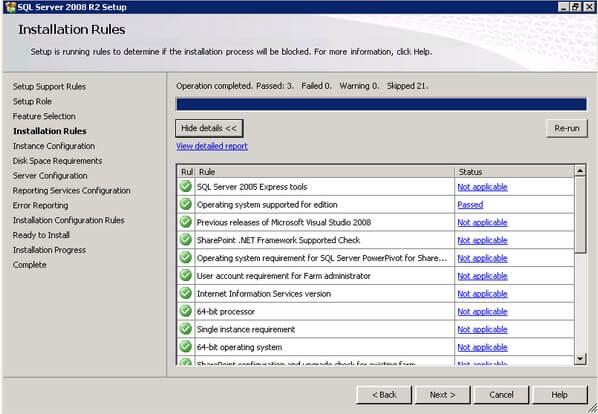 SQL Server 2008 R2 Installation Rules