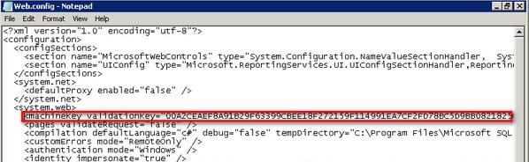 Report Manager web.config machinekey validationkey