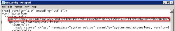 Report Server web.config machinekey validationkey
