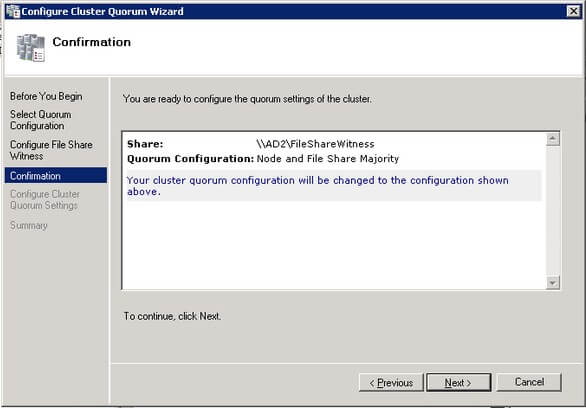 verify that the file share configuration for the quorum/witness is correct