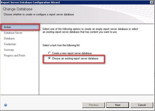 ssrs change database configuration