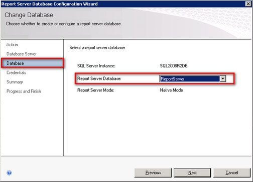 sql server reporting report server database