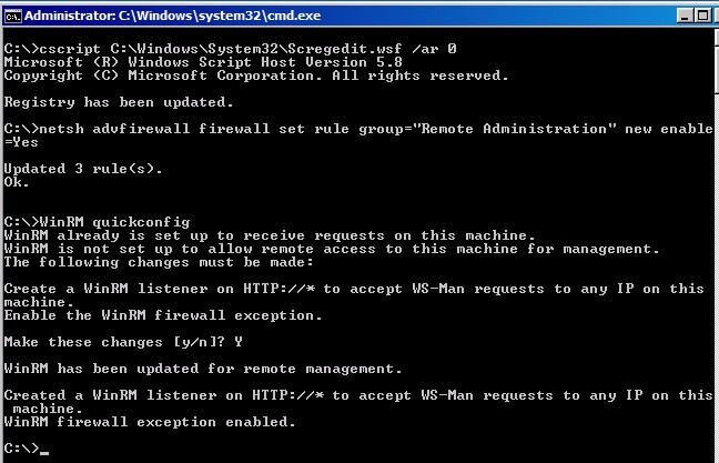 Enabling Remote Administration in Windows Server Core