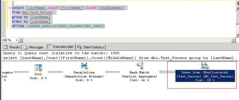 sql server query plan for non columnstore query