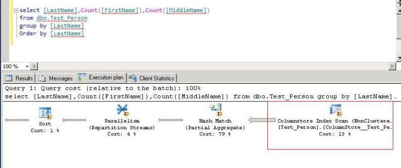 sql server query plan for columnstore query
