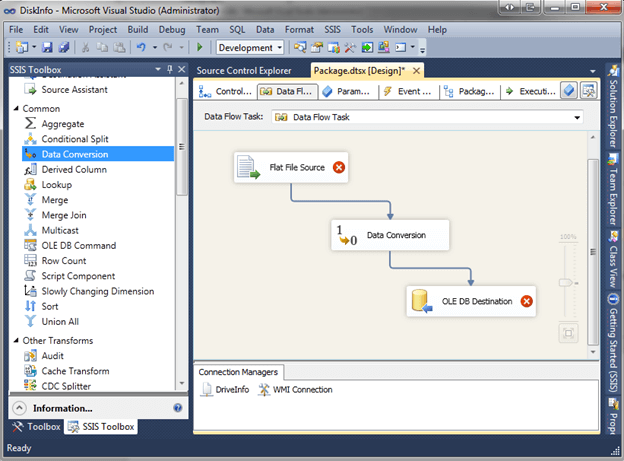 drag the following three tasks in from the SSIS toolbox and connect using precedence constraints